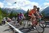 Some time later, Mikel Nieve leads a new escape on to the Passo dello Stelvio, also in this group is Thomas DeGendt and Damiano Cunego...