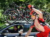 Taylor Phinney is coolng hmself off on this very warm day in the mountains...