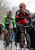 Van Avermaet and Nico Eeeckhout have pulled away from the escape on the Oude Kwaremont...