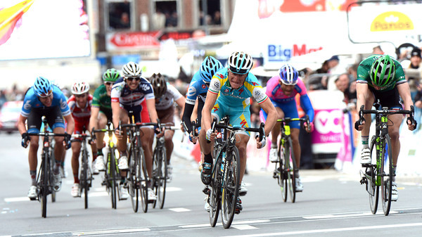 Astana's Enrico Gasparotto wins 3rd-place in a fierce sprint home...