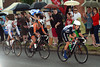 The umbrellas are up as Armitstead leads Vos and Zabelinskaya race towards Hampton Court with a 50-second lead...