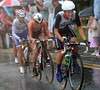 Armitstead leads the escape with Vos, Olga Zabelinskya and Shelley Olds following her into the rain...
