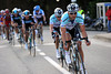Boonen leads the seven escapers towards the cruxt of the day's racing on the Molenberg...