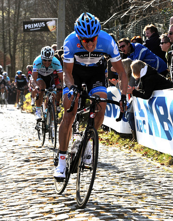 Sep Van Marcke attacks Tom Boonen on the Molenberg...