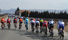 The peloton continues its battle against the elements for about 15-kilometres...