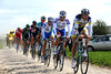 Bertjan Lindeman leads a 12-man escape on to the cobbles at Viesly...