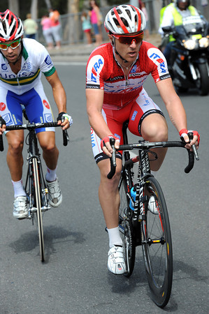 Luca Paolini is on the attack with Lachlan Norris...