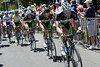 Luke Durbridge leads the Green Edge team as Willunga Hill starts...