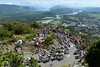 The peloton climbs the Grand Colombier, unaware of the stunning scenery towards the lake of Annecy...