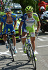 Vincenzo Nibali has attacked on the Colombier descent - Grivko has waited for him to form a brief escape against Sky and Wiggins...