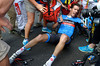 Millar collapses to the ground after his win - he's a happy man all the same..!