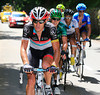 Yaroslav Popovych leads as the escape climbs the Col du Granier - quite a few riders have dropped off the group...