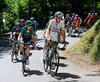 Koen De Kort is at the head of a 17-man escape as it climbs the Col du Grand Chucheron...