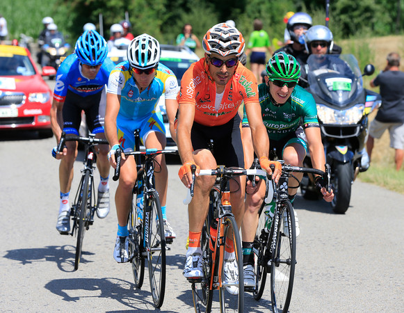 The longest stage of the Tour has seen the escape shrink - Egoi Martinez leads just four others into the last 30-kilometres...