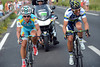 Alexandre Vinokourov and Michele Albasini have gone away on the climb and are trying hard to stay away to the finish...