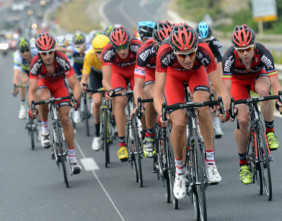 BMC have accelerated into the crosswinds blowing in from the sea - MIchael Schar is driving them along..!