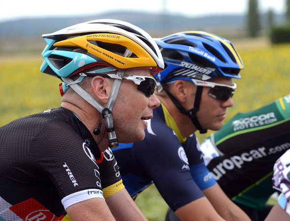 Chris Horner and his Radio Shack team are wearing new helmets to denote their lead in the team classification...