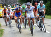 Sandy Casar leads the escape onto the first mountain, the Col de Lers...