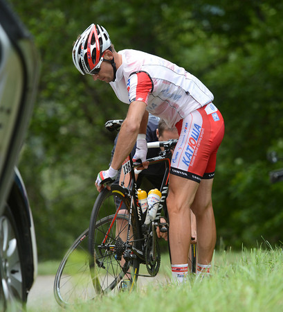 Katusha's Kuchynski is one of dozens of riders affected by nails put on the road by saboteurs...