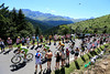 The Liquigas-led peloton approaches the summit of the Col d'Aspin with Wiggins in 3rd place...