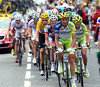 Ivan Basso leads the favourites' group as the Col de Peyresourde begins...
