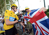 Happy days - a British fan gets a most prized autograph from Bradley Wiggins in Blagnac...