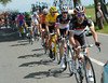 Tony Gallopin paces Frank Schleck and Faban Cancellara back to the peloton...
