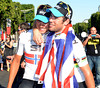 Thanks mate - Mark Cavendish hugs Edvald Boasson Hagen, who led him out towards the finish-line...