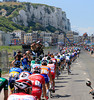 The peloton hits the coast of Northern France near Le Treport...