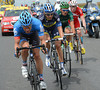 David Zabriskie and three others have attacked right away, and into the crosswind...