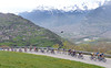 Sky leads the small peloton up to Veysonnaz with spectacular views down to the valley that they'll never enjoy...