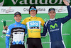 Bradley Wiggins celebrates with Andrew Talansky and Alberto Rui Costa on the podium