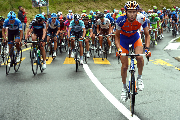 Laurens Ten Dam is the first to attack as the climb to Verbier begins...