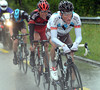 Nordhaug has been caught by Elmiger and Van Avermaet with six-kilometres left...