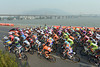 The peloton passes the mighty Yongding river as it leaves Mentougou for stage three...