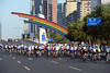 The peloton is in gentle pursuit as it passes the city centre of Beijing...
