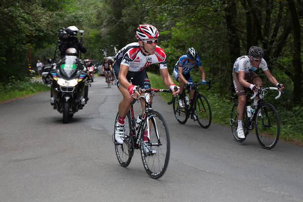 On the last un-rated climb, Ben Jacques-Maynes has lifted the pace; only two of the escape can match him.