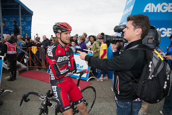 TJ Van Garderen talks to the local media before the start.
