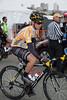 Josh Atkins rolls to the start wearing Sagan's best young rider's jersey as Sagan will be wearing gold.