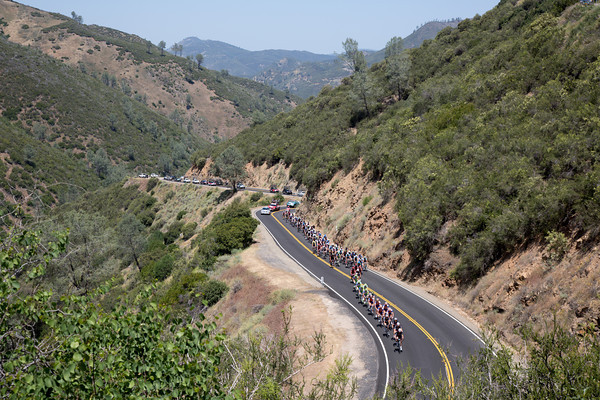 The peloton is not paying too much attention to the scenery as they climb after the escape.
