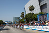 With four laps to go, the break is hovering around a minute as the peloton passes the Staples Center in the LA Live area of Downtown.