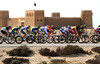 The peloton is doing almost 70-kilometres-per-hour as it passes the fort at Al Zubara..!