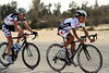 The ease-up by the peloton allows Miyataka Shimitzu and Lars Bak to race away together...