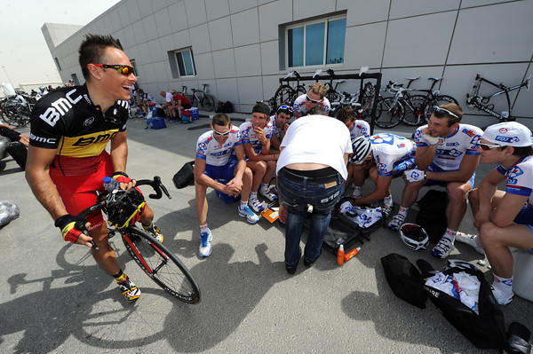 Fortunately, Philippe Gilbert arrives to give them some more useful advice...