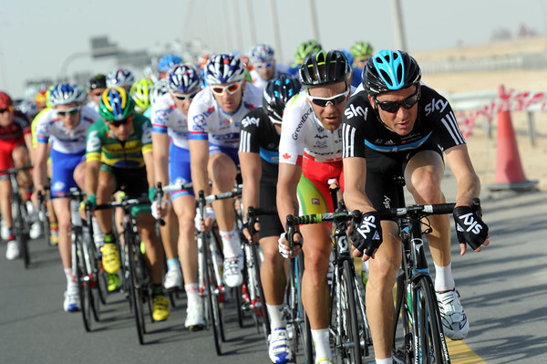 Michael Barry is leading the peloton for Sky, making sure no-one escapes...