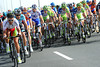 Svein Tuft is leading the peloton's chase in his very-startling Green Edge colours as Canadian champion...