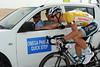 Tom Boonen has plenty of time to drop back to his team car for a chat and a laugh...