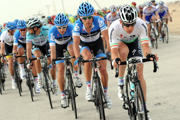 Brammeier is hard at work on front of the peloton - the gap has to come down soon..!