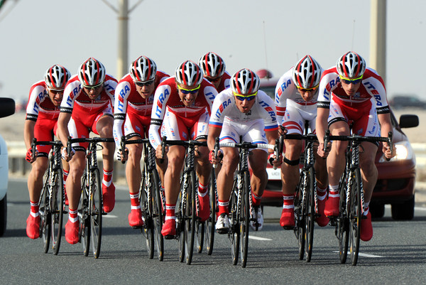 Team Katusha raced into 4th place, only nine-seconds off the winning pace...