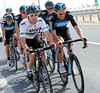 Team Sky and Mark Cavendish are the first team to start the 18-kilometre ride to the start...